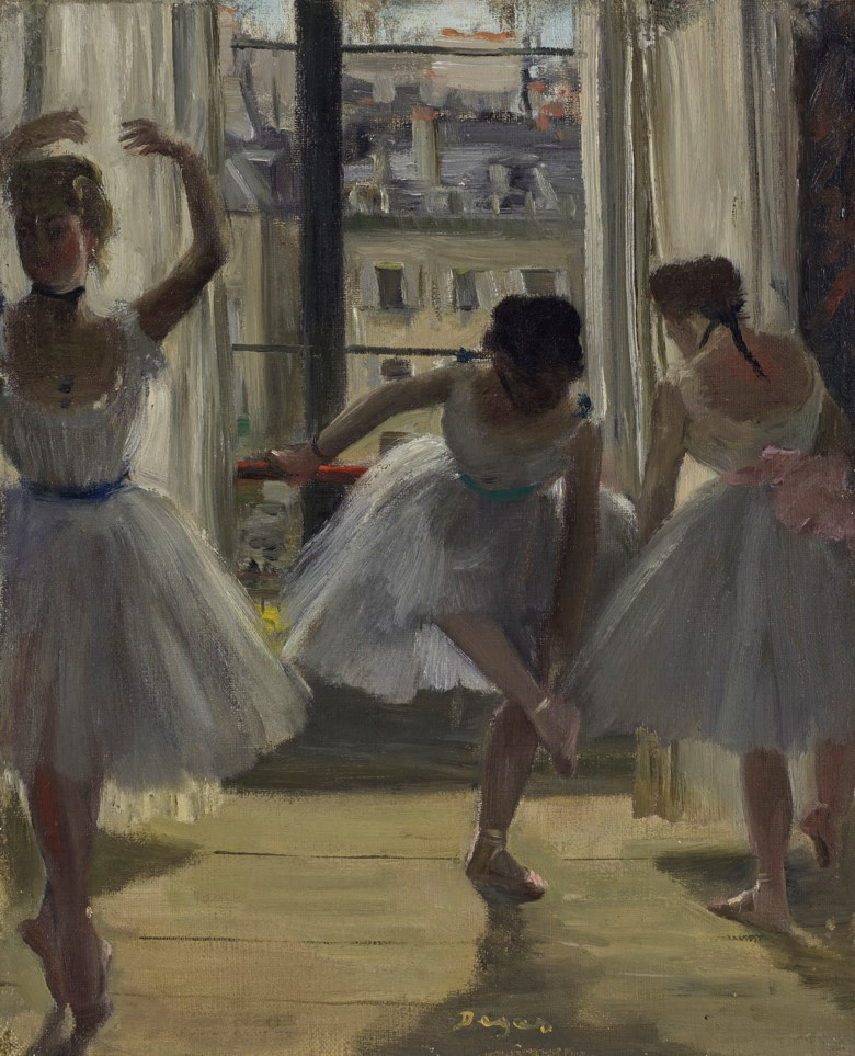 Edgar Degas (1834-1917), Danseuses dans une salle dexercice (Trois Danseuses), painted in 1873. Oil on canvas. 10⅞ x 9  in (27.5 x 22.7  cm). Sold for £4,178,750 on 27 February 2019 at Christie's in London