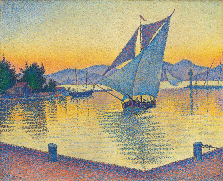 Paul Signac (1863-1935), Le Port au soleil couchant, Opus 236 (Saint-Tropez), painted in 1892. Oil on canvas. 25⅝ x 32  in (65 x 81.3  cm). Sold for £19,501,250 on 27 February 2019 at Christie's in London