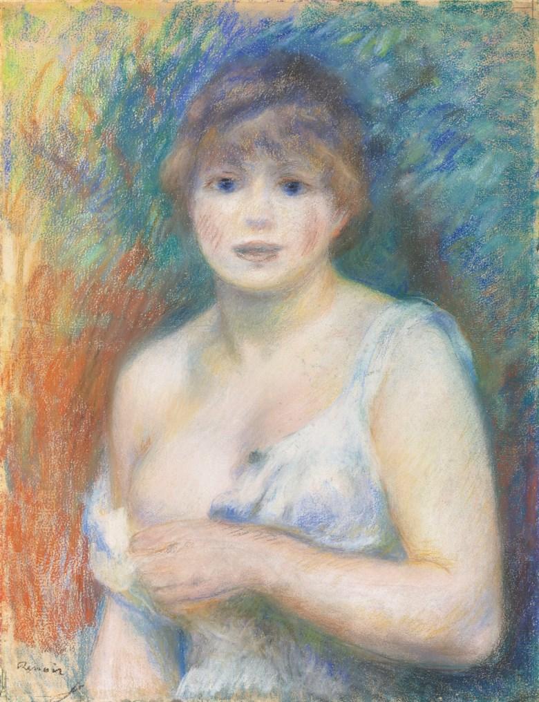 Pierre-Auguste Renoir (1841-1919), Femme demi-nue (Portrait de Jeanne Samary), executed circa 1879-1880. 24¼ x 18⅝  in (61.6 x 47.2  cm).