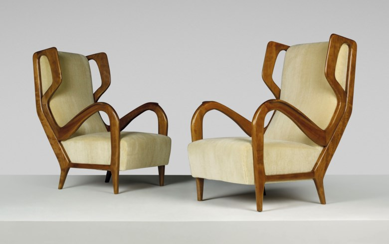 Gio Ponti (1891-1979), A pair of rare wingback armchairs, designed circa 1947. Each 26½ x 34¼ x 39¾  in (67 x 87 x 101  cm). Sold for £118,750 on 6 March 2019 at Christie's in London