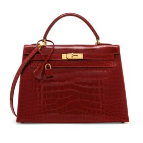 A SHINY ROUGE VIF ALLIGATOR SELLIER KELLY 32 WITH GOLD HARDW