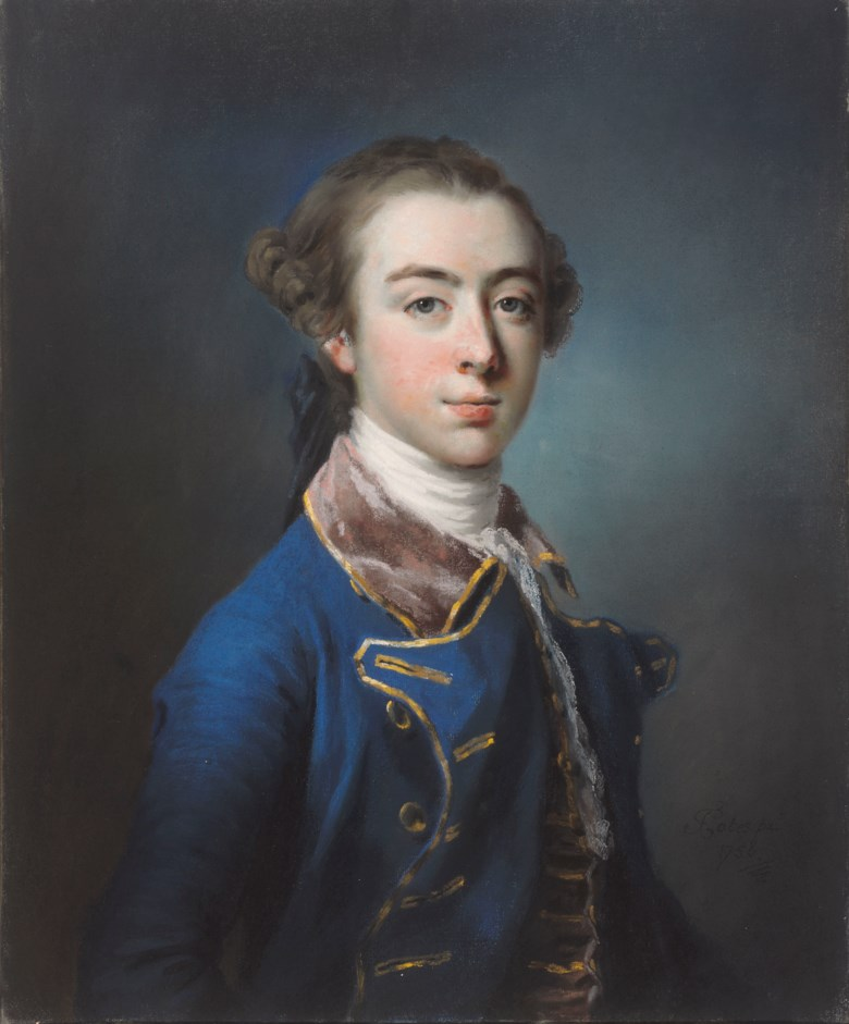 Francis Cotes, R.A. (1726-1770), Portrait of Topham Beauclerk, half-length, wearing a blue coat. Pastel. 26 x 21½  in (66 x 54.6  cm). Estimate £20,000-30,000. Offered in Old Master and British Drawings and Watercolours Including Works from the Collection of Jean Bonna on 2 July 2019 at Christie's in London
