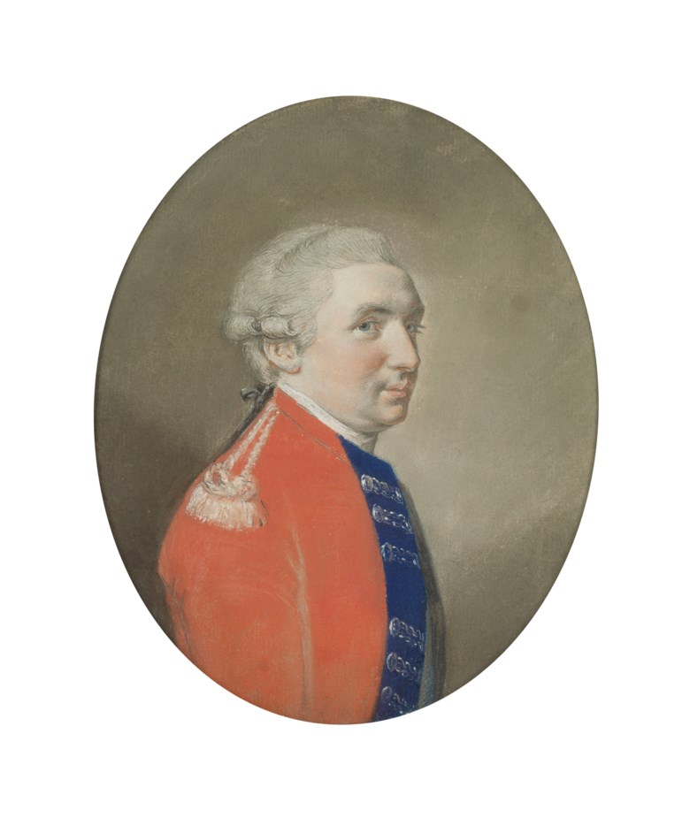 Hugh Douglas Hamilton, R.H.A. (Dublin 1739-1808), Portrait of Robert Cunninghame of Mount Kennedy, Baron Rossmore, bust-length; and Alexander Pope (Cork 1763-1835 London) Portrait of Anne Gordon, bust-length. Pastel. 9½ x 7½  in (24.2 x 19  cm), oval. Estimate £3,000-5,000. Offered in Old Master and British Drawings and Watercolours Including Works from the Collection of Jean
