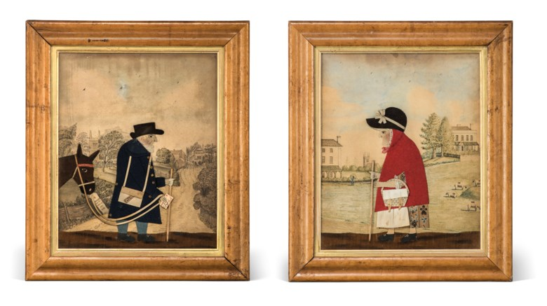 A pair of Regency cut-felt collage pictures of the goose woman and 'Old Bright' the postman of Frant, By George Smart, circa 1820. Each 13¾ x 11¾  in (34.9 x 27.9  cm). Estimate £2,000-3,000. Offered in Interiors Including Posters on 11 September 2019 at Christie's in London