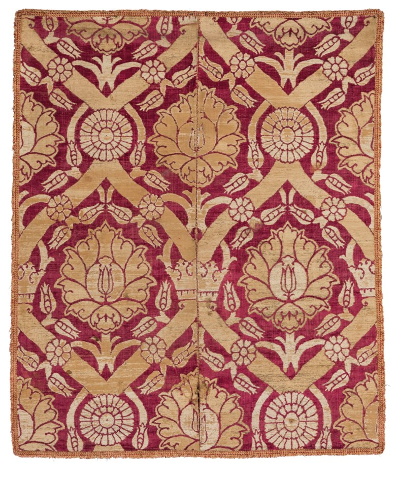 A large silk velvet and metal-thread panel, Bursa, Ottoman Turkey, first half 17th century. Dimensions 59⅞ x 48⅞ in (142 x 124 cm). Estimate £15,000-20,000. Offered in Art of the Islamic and Indian Worlds Including Oriental Rugs and Carpets on 2 May 2019 at Christie's in London