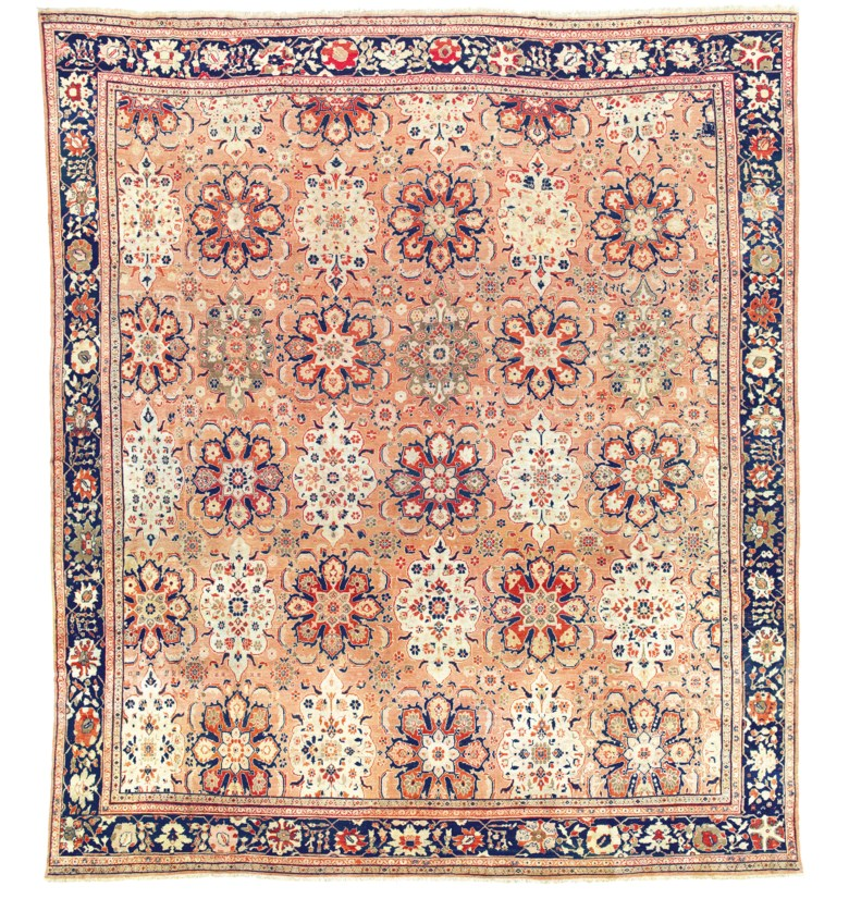 A large Ziegler carpet, west Persia, circa 1890. 22 ft x 19 ft 5 in (672 x 597 cm). Sold for £27,500on 2 May 2019 at Christie's in London