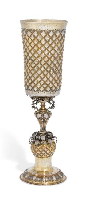 A GERMAN PARCEL-GILT SILVER CUP