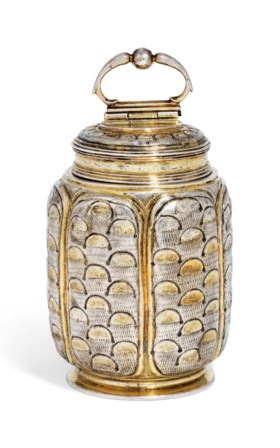 A GERMAN PARCEL-GILT SILVER CANISTER