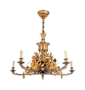 A NORTH EUROPEAN SILVERED AND GILT-BRONZE FIVE-LIGHT CHANDEL