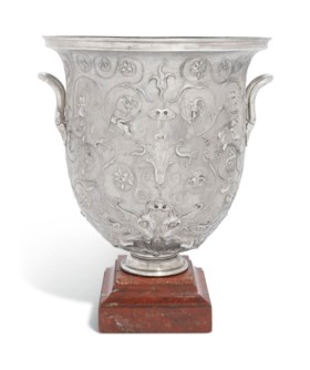 A FRENCH SILVER ELECTROPLATED URN