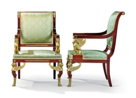 A PAIR OF FRENCH ORMOLU-MOUNTED MAHOGANY FAUTEUILS