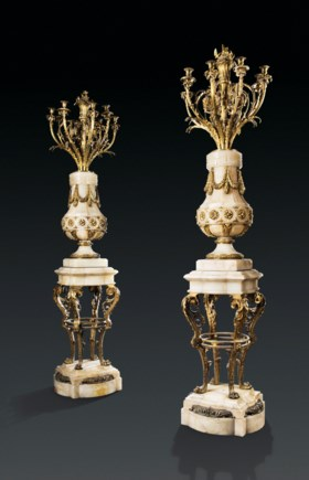 A PAIR OF MONUMENTAL FRENCH ORMOLU AND ONYX EIGHT-LIGHT VASE