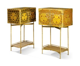 TWO JAPANESE BRASS-MOUNTED LACQUERED COFFERS