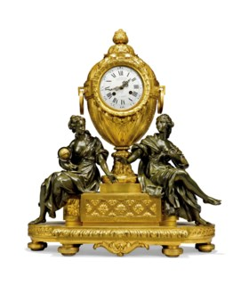 A FRENCH GILT AND PATINATED-BRONZE MANTEL CLOCK
