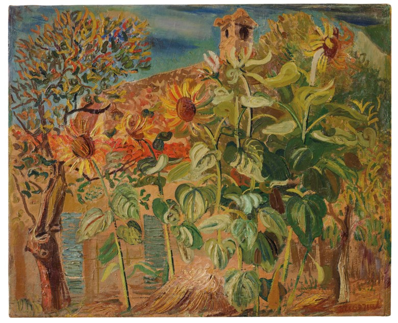 Boris Grigoriev (1886-1939), Sunflowers, 1930. Oil on canvas. 18⅛ x 22⅛  in (46 x 56.2  cm). Offered in Russian Art on 3 June 2019 at Christie's in London and sold for £22,500