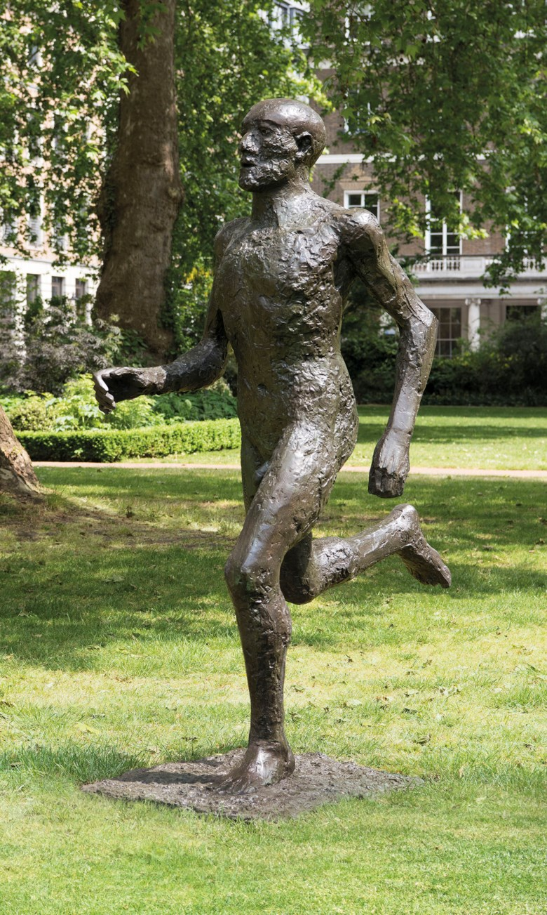 Dame Elisabeth Frink, R.A. (1930-1993), Running Man (Front Runner), conceived and cast in 1986. 77 in (195.6 cm) high. Sold for £1,091,250 on 17 June 2019 at Christie's in London