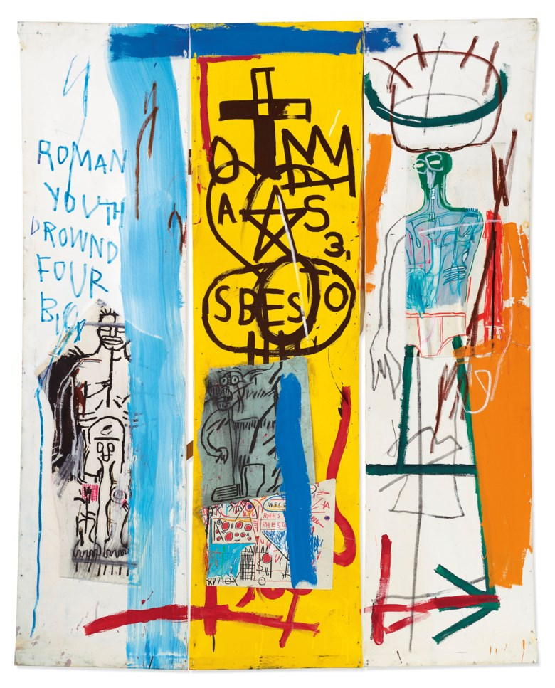 Jean-Michel Basquiat (1960–1988), Four Big, 1982. Overall 78 x 63 in (198.1 x 160 cm). Sold for £8,605,250. Offered in Post-War and Contemporary Art Evening Auction on 4 October 2019 at Christie's in London