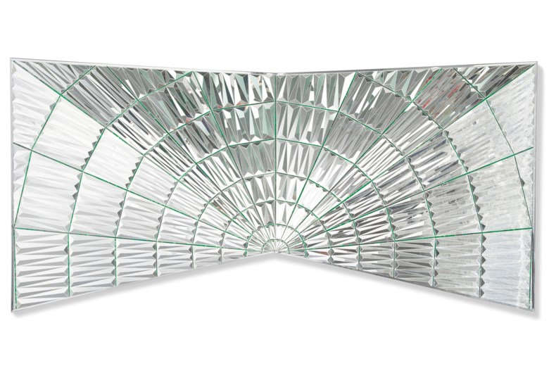 Monir Farmanfarmaian (Iranian, 1924-2019), Untitled (Faravahar wings, Zarathustra), 2008. Dimensions 33½ x 70 in (85 x 178 cm). Estimate £240,000-400,000. Offered in Middle Eastern, Modern and Contemporary Art on 23 October 2019 at Christie's in London