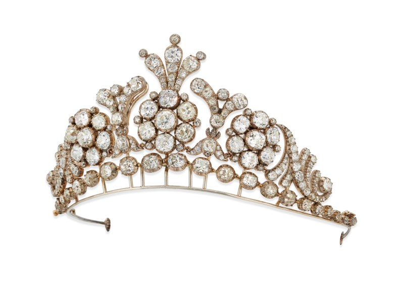 19th century diamond tiara  necklace. Old-cut cushion shaped diamonds, silver and gold, as a tiara 7.3 cm high, as a necklace 41.4 cm, blue velvet case. Estimate £150,000-200,000. Offered in Important Jewels on 27 November 2019 at Christie's in London