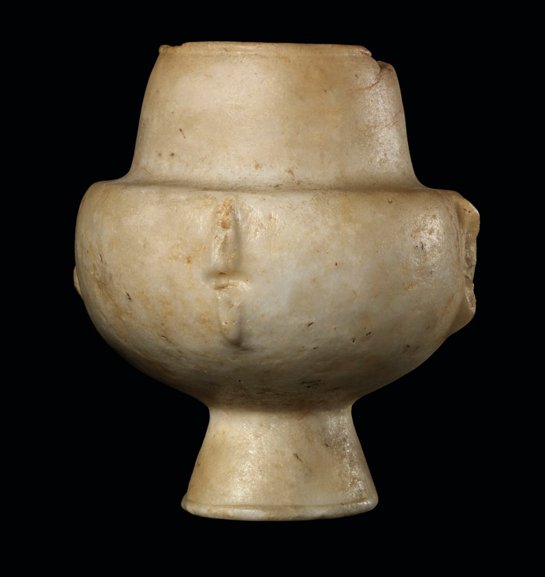A Cycladic marble kandila, early Cycladic I, circa 3200-2700 BC.. 8  in (21  cm) high. Estimate £15,000-20,000. Offered in Antiquities on 4 December 2019 at Christie's in London