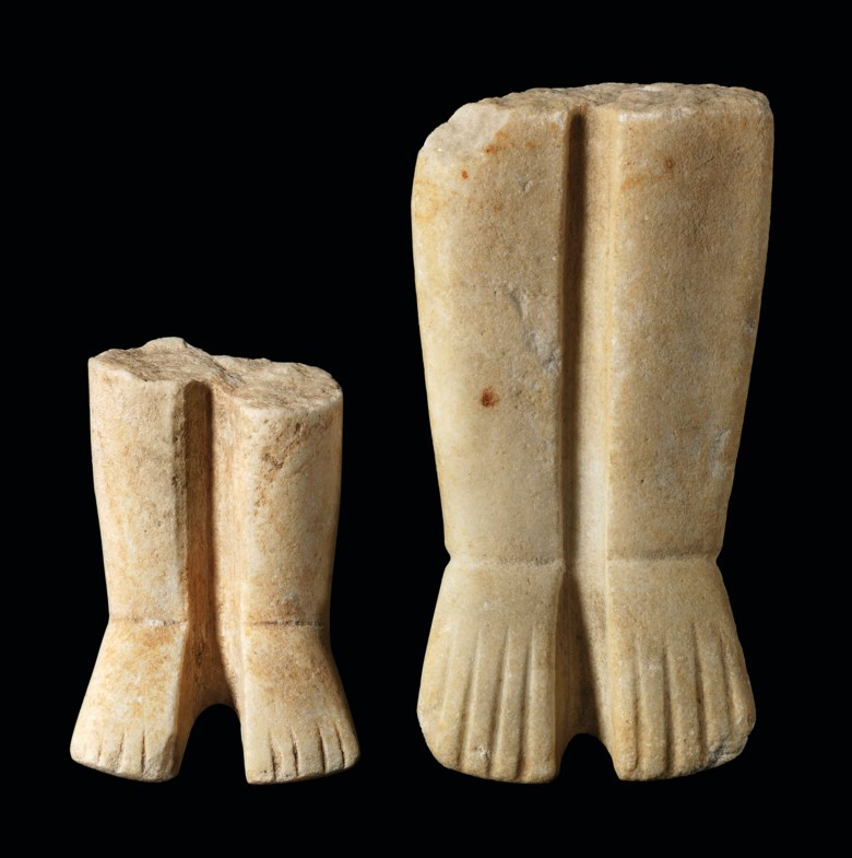 Two Cycladic marble leg fragments, late Spedos variety, early Cycladic II, circa 2500-2400 B.C.. 5⅞  in (14.8  cm) high  max. Estimate £4,000-6,000. Offered in Antiquities on 4 December 2019 at Christie's in London