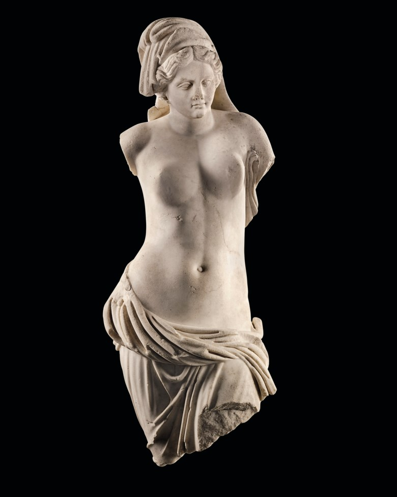 A Roman marble Venus Pontia-Euploia, circa 1st century AD.35  in (89  cm) high. Sold for £671,250on 4 December 2019 at Christie's in London