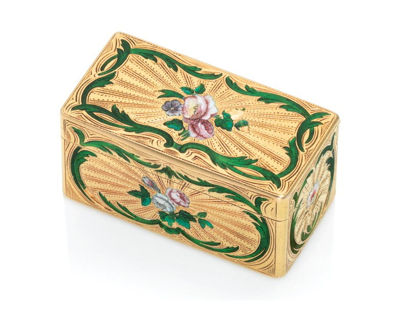 A Louis XV enamelled gold snuff-box, by Jean-Jacques Charbonné (fl. 1738-1786), marked, Paris, 17551756, with the charge and decharge marks of Julien Berthe 1750-1756, stamped with inventory number 93. 2¼  in (55  mm) wide. Offered in Gold Boxes on 5 December 2019 at Christie's in London