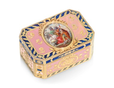 A Louis XVI enamelled gold snuff-box, by Charles Brisson (fl. 1761-1793), marked, Paris, 17801781, with the charge and decharge marks of Henri Clavel 1780-1782, struck with the French post-1838 guarantee mark for gold. 2⅞  in (72  mm) wide. Sold for £57,500 on 5 December 2019 at Christie's in London