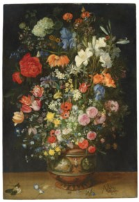 Lilies, tulips, roses and other flowers in an ornamental vase on a ledge, with butterflies and beetles