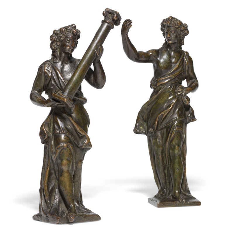 Workshop of Niccolo Roccatagliata (1560-1636), Venetian, circa 1590-1600, Pair of figures bearing symbols of Christ's Passion. 9½  in (24  cm) high. Estimate £7,000-10,000. Offered in Old Master Paintings and Sculpture on 4 December 2019 at Christie's in London