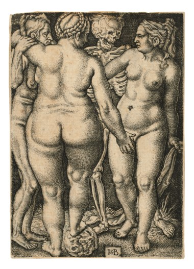Hans Sebald Beham (1500-1550), Death and three nude Women, circa 1540. Engraving on laid paper. Plate 77 x 54  mm. Sheet 78 x 55  mm. Estimate £1,500-2,500. Offered in Old Master Prints on 10 December 2019 at Christie's in London