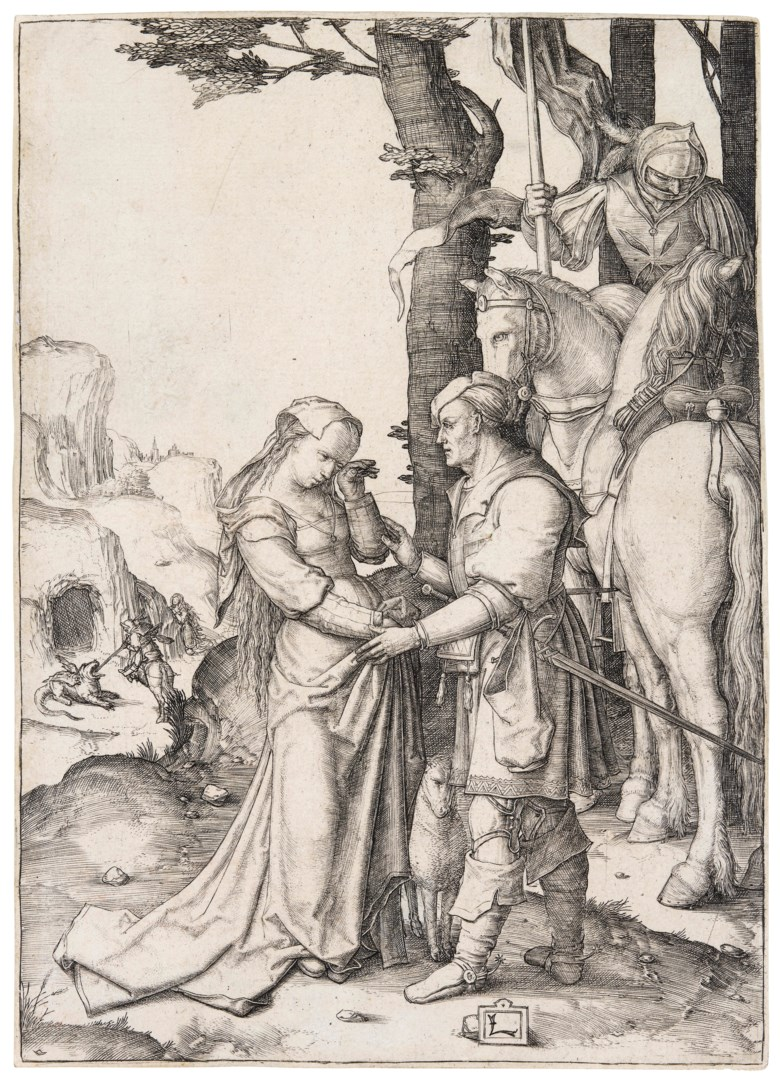 Lucas van Leyden (1494-1533), Saint George liberating the Princess, circa 1508. Engraving on laid paper. Plate & sheet 162 x 117  mm. Estimate £1,500-2,500. Offered in Old Master Prints on 10 December 2019 at Christie's in London