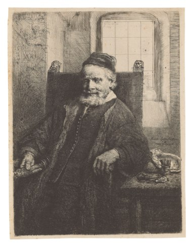 Rembrandt Harmensz. van Rijn (1606-1669), Jan Lutma, Goldsmith, 1656. Etching with engraving and drypoint on laid paper. Plate 198 x 149  mm. Sheet 205 x 156  mm. Estimate £40,000-60,000. Offered in Old Master Prints on 10 December 2019 at Christie's in London