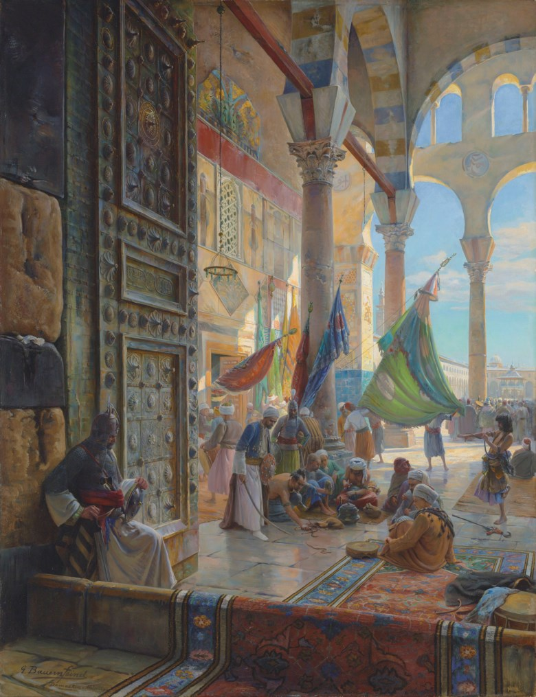 Gustav Bauernfeind (German, 1848-1904), Forecourt of the Umayyad Mosque, Damascus, 1890. Oil on panel. 47 ¼ x 36 ¼  in (120.8 x 92.2  cm). Estimateon request. Offered in Orientalist Art on 29 April 2019 at Christie's in London