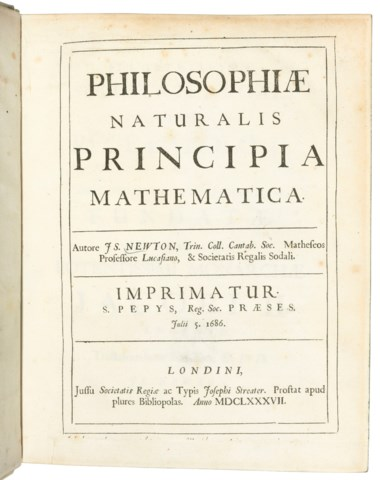 Newton, Sir Isaac (1642-1727). Philosophiae Naturalis Principia Mathematica. Edited by Edmond Halley (1656-1743). London Joseph Streater for the Royal Society [at the expense of Edmond Halley], to be sold by various booksellers, 1687.Estimate £250,000-350,000. Offered in Important Scientific Books from the Collection of Peter and Margarethe Braune on 9 July 2019 at Christie's in