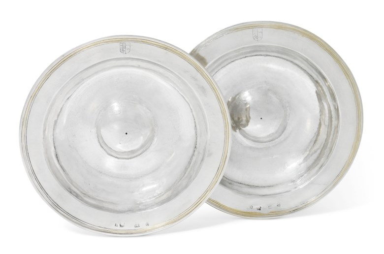 A pair of Elizabeth I silver dishes from the 'Armada Service', London, 1600 and 1601. 8¼  in (21  cm)  diameter. Estimate £150,000-200,000. Offered in The David Little Collection of Early English Silver on 3 December 2019 at Christie's in London