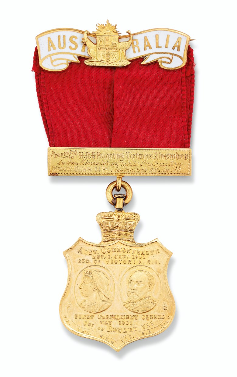 Australia, gold medal commemorating the opening of the first Federal Parliament on 9 May 1901. 8.3 cm high. Estimate £1,000-1,500. Offered in Property from Descendants of Their Majesties King George V and Queen Mary on 13 December 2019 at Christie's in London