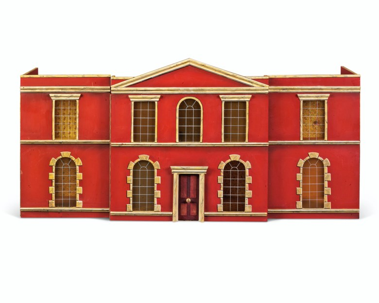 A polychrome-decorated doll's house, second half 20th century. 23¾ in (60.5 cm) high; 46¾ in (118.5 cm) wide; 15¼ in (38.5 cm) deep. Estimate £400-600. Offered in Property from Descendants of Their Majesties King George V and Queen Mary on 13 December 2019 at Christie's in London