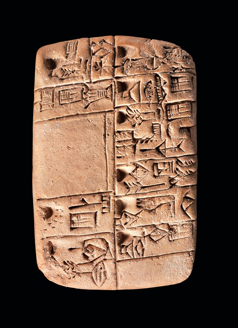 A Mesopotamian proto-cuneiform clay tablet with account of monthly rations, Late Uruk period, circa 3100-3000 BC.Estimate £20,000-30,000. Offered in The History of Western Script Important Antiquities and Manuscripts from the Schøyen Collection on 10 July 2019 at Christie's in London