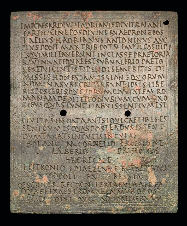 A Roman bronze fleet diploma for l. Petronio, Reign of Antoninus Pius, 143 A.D.158 x 127 mm. Estimate £20,000-30,000. Offered in The History of Western Script Important Antiquities and Manuscripts from the Schøyen Collection on 10 July 2019 at Christie's in London