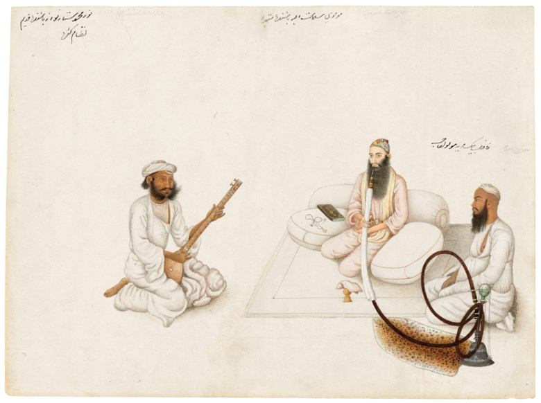 An Illustration from a Fraser Album Mawlawi Salamat Allah of Mathura with a Disciple and a Musician, Delhi or Haryana, North India circa 1815-1819. 12⅛ x 16½ in (31 x 42 cm). Estimate £40,000-60,000. Offered in The Oliver Hoare Collection on 25 October 2019 at Christie's in London
