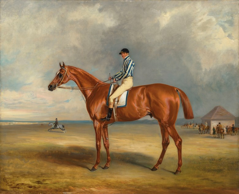 John Ferneley, Sen. (1781-1860), The Earl of Jerseys Riddlesworth with J. Robinson up at Newmarket, 1831. Oil on canvas. 34 x 42  in (86.4 x 106.7  cm). Estimate £150,000-200,000. Offered in IN THE FIELD — An Important Private Collection of Sporting Art on 12 December 2019 at Christie's in London