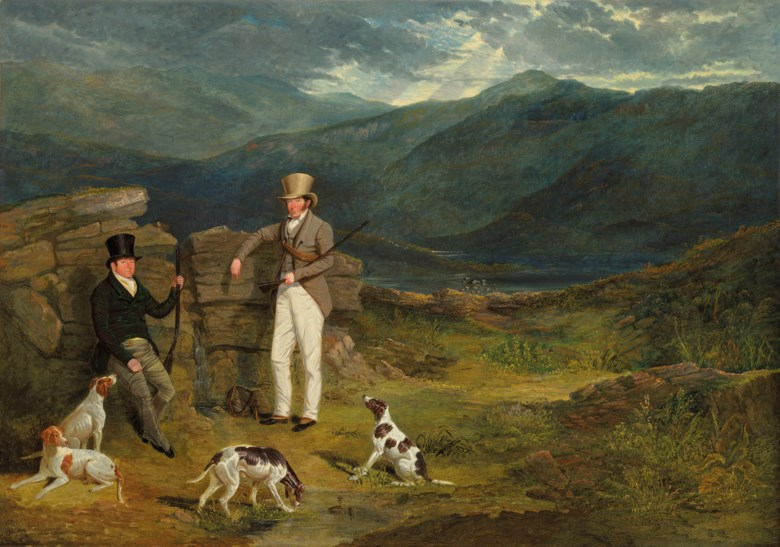 John Frederick Herring, Sen. (1795-1865), John Barker of Leighton Hall, Yorkshire, and John Batsby, with Pointers on a Grouse Moor, 1824. Oil on canvas. 40¼ x 57⅝  in (102.2 x 146.4  cm). Estimate £250,000-350,000. Offered in IN THE FIELD — An Important Private Collection of Sporting Art on 12 December 2019 at Christie's in London