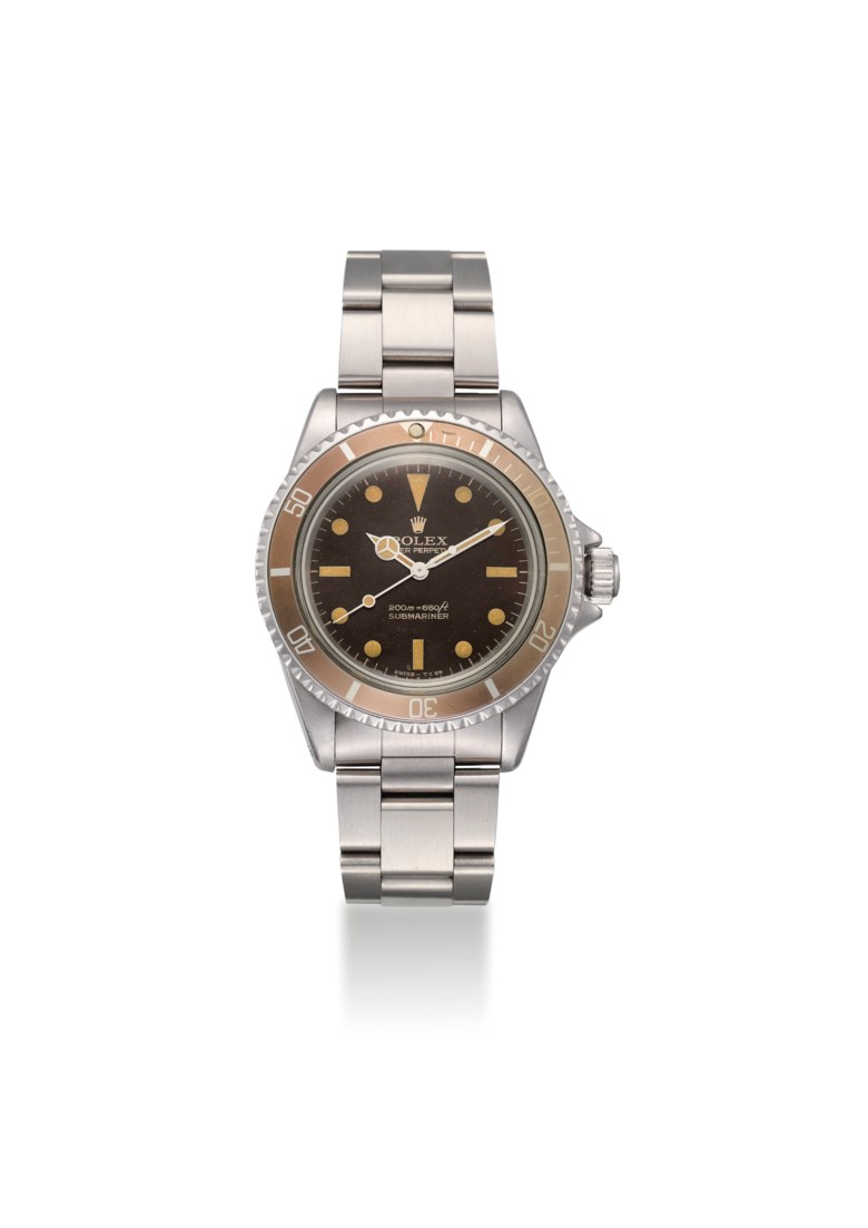 Rolex. a fine and very rare stainless-steel automatic wristwatch with sweep centre seconds, stardust dial and bracelet, circa 1966. Signed Rolex, Oyster Perpetual, 200m600ft, Submariner, ref. 5513, case no. 1'293'711. Estimate $20,000-30,000. Offered in Important Watches on 22 March 2019 at Christie's in Dubai