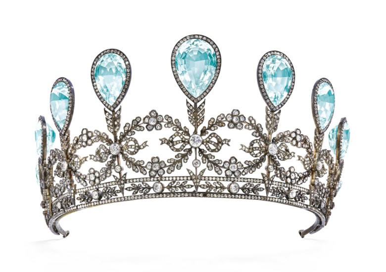 A rare aquamarine and diamond tiara by Fabergé. Nine graduated pear-shaped aquamarines, old, cushion- and rose-cut diamonds, 1904, inner circumference 29.0 cm, unsigned, scratch no. 73828. Sold for CHF 1,035,000 on 15 May 2019 at Christie's in Geneva