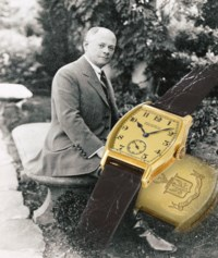 Patek Philippe. An extremely fine, historically important and unique 18K goldtonneau-shaped minute repeating wristwatchengraved withthe Graves family coat-of-arms, made for Henry Graves Jr.