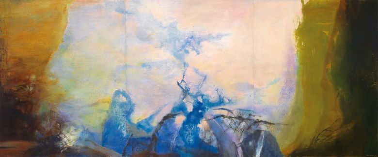 Zao Wou-Ki (Zhao Wuji, 1920-2013), Triptyque, 1987-1988. Oil on canvas. Overall 200 x 486  cm (78¾ x 191⅜  in). Sold for HK$178,000,000 in 20th Century & Contemporary Art (Evening Sale) on 25 May 2019 at Christie's in Hong Kong