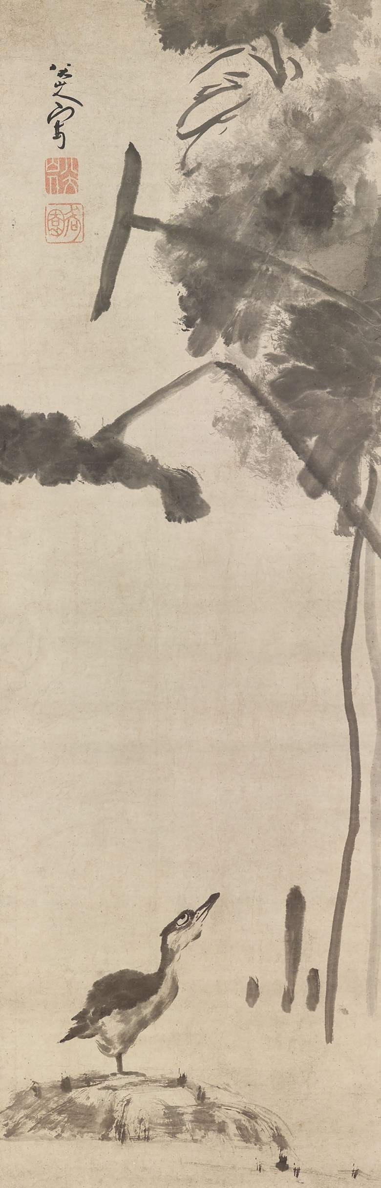 Bada Shanren (1626-1705), Heron and Lotus. 106 x 34.3 cm (41¾ x 13½ in). Sold for HK$6,125,000 on 27 May 2019 at Christie's in Hong Kong