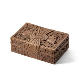 A CARVED YIXING RIBBON BOX AND COVER