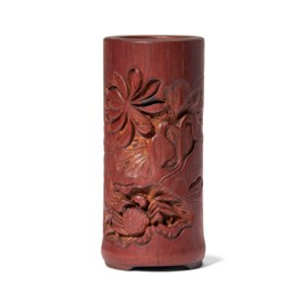 A SMALL CARVED 'LOTUS POND' BAMBOO BRUSHPOT
